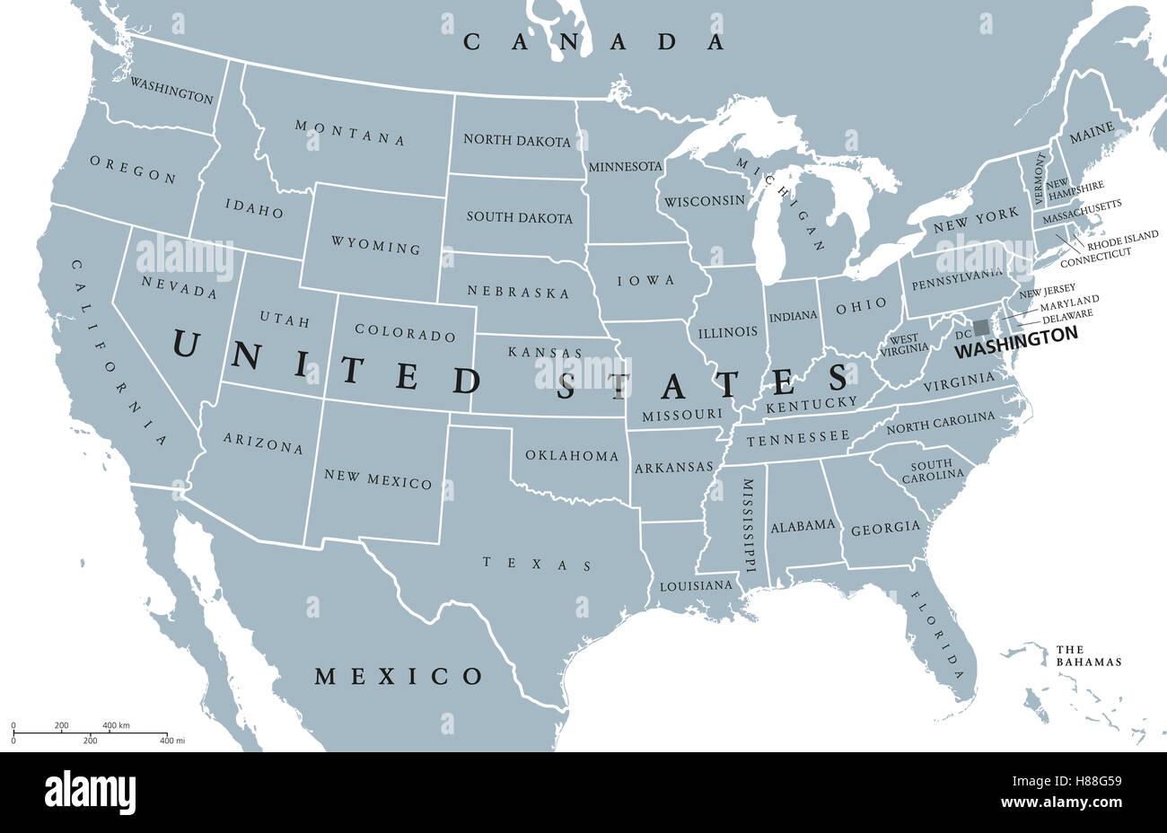 usa vereinigte staaten von amerika politische karte mit hauptstadt washington einzelne staaten. Black Bedroom Furniture Sets. Home Design Ideas