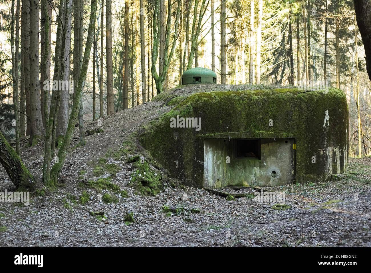 Französischen bunker Ruine in der Nähe Langensoultzbach, Vogesen, Frankreich. Es wurde vor dem zweiten Weltkrieg Stockfoto