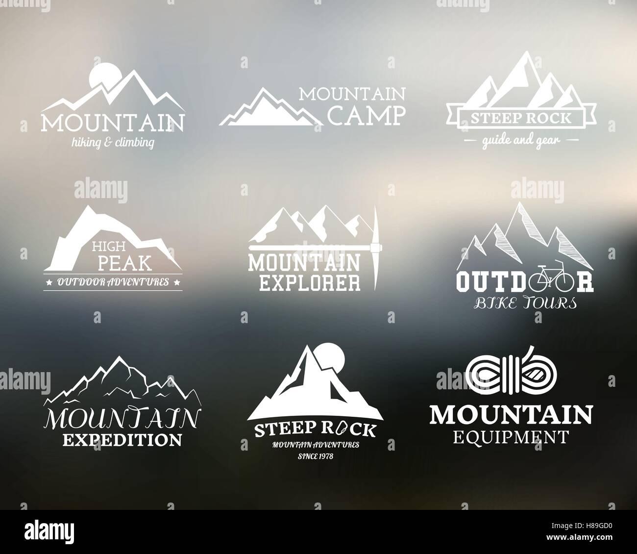 Satz von Sommer Mountain Explorer camp Abzeichen, Logo und Label ...