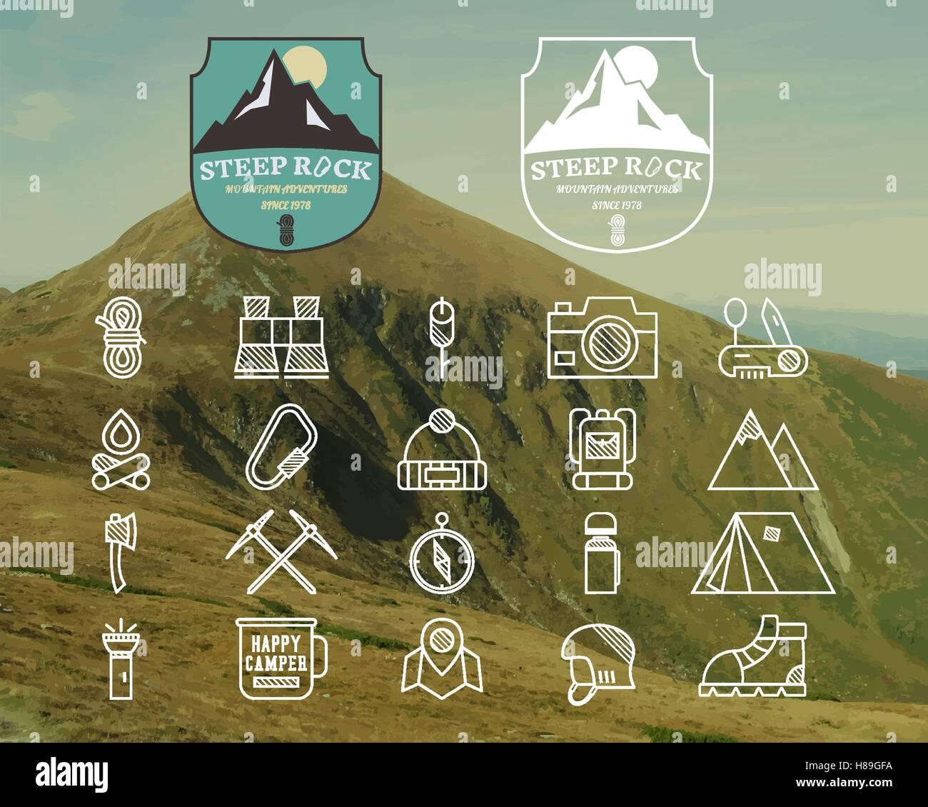 Satz von Sommer Mountain camp Abzeichen, Logo und Beschriftung und ...