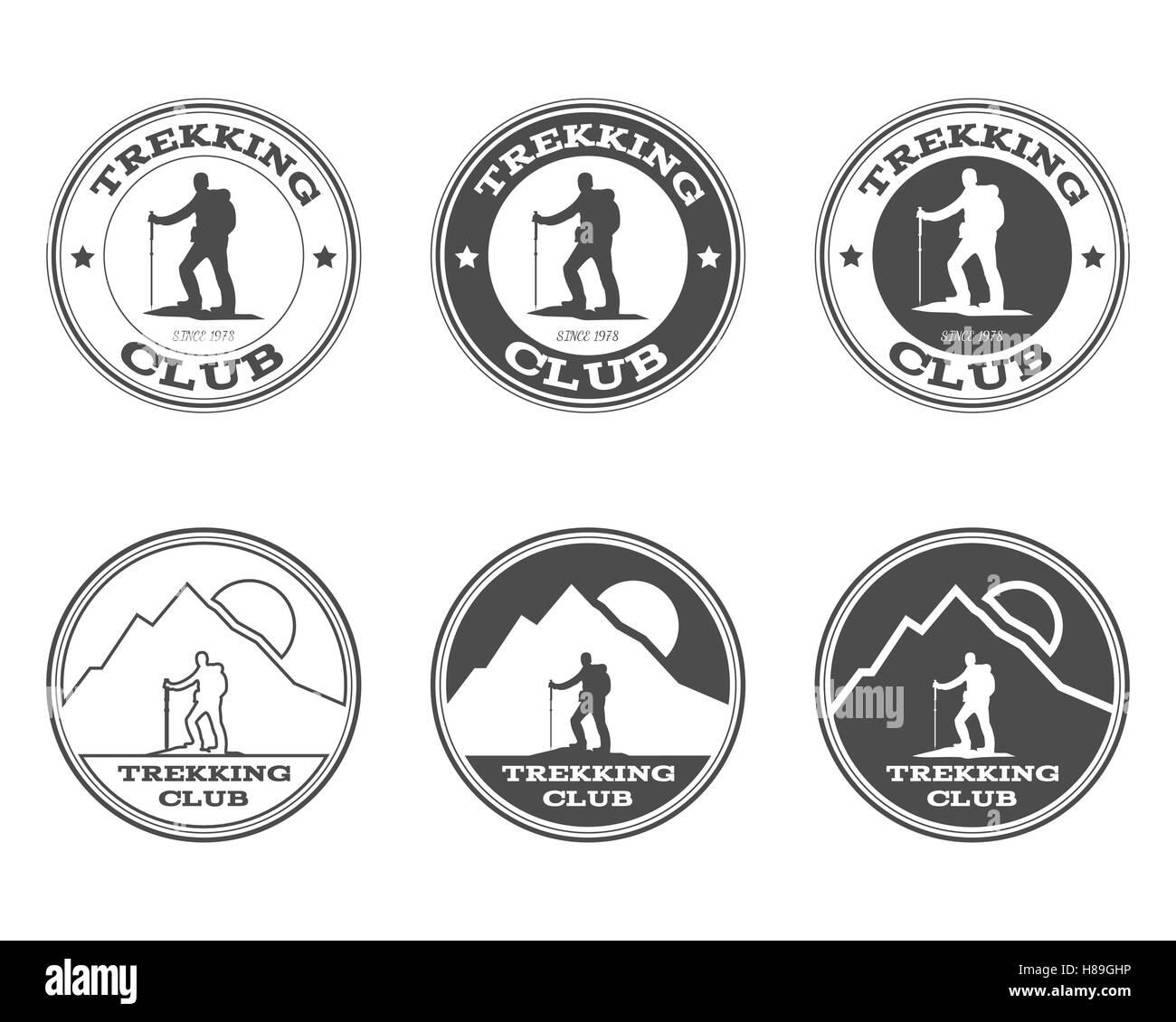 Satz von monochromen outdoor-Abenteuer Explorer camp Abzeichen, Logo ...