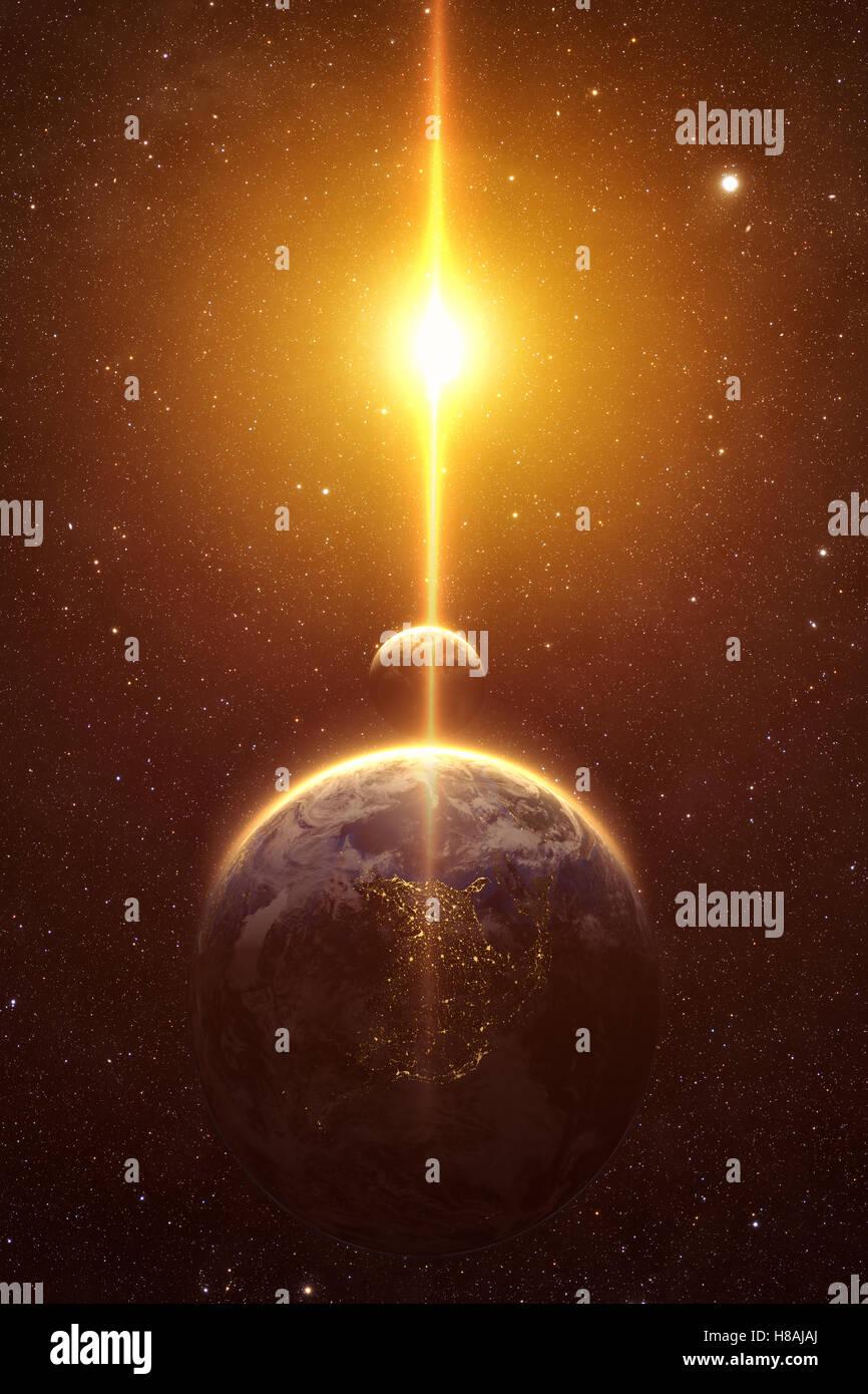 Eine Computer-Grafik-Rendering von Mond und Erde bei Sonnenuntergang Stockbild