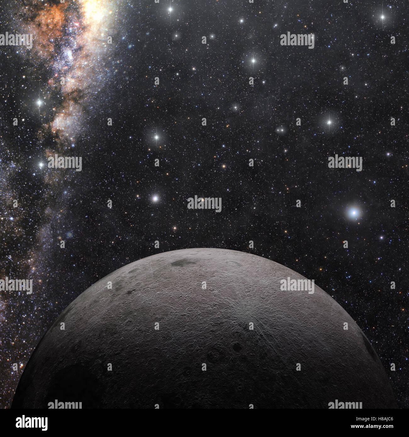 Eine Computer-Grafik-Rendering des Mondes und milkyway Stockbild