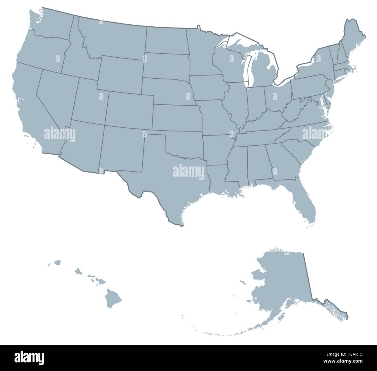 Politische Karte der USA Vereinigte Staaten von Amerika. Die ...