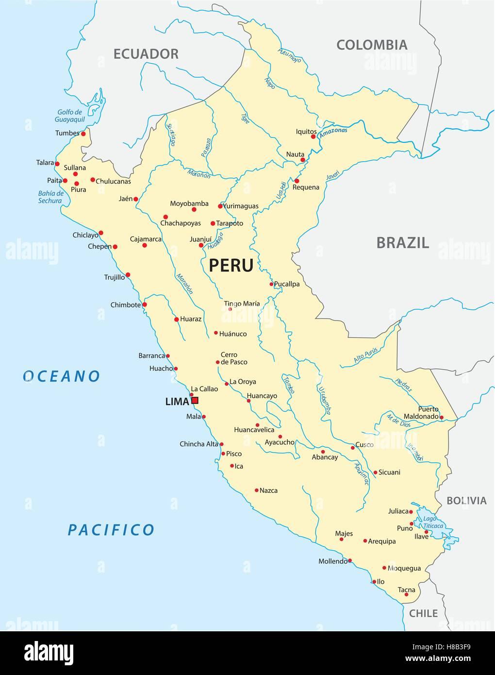 Peru Karte.Karte Von Peru Vektor Abbildung Bild 125634077 Alamy