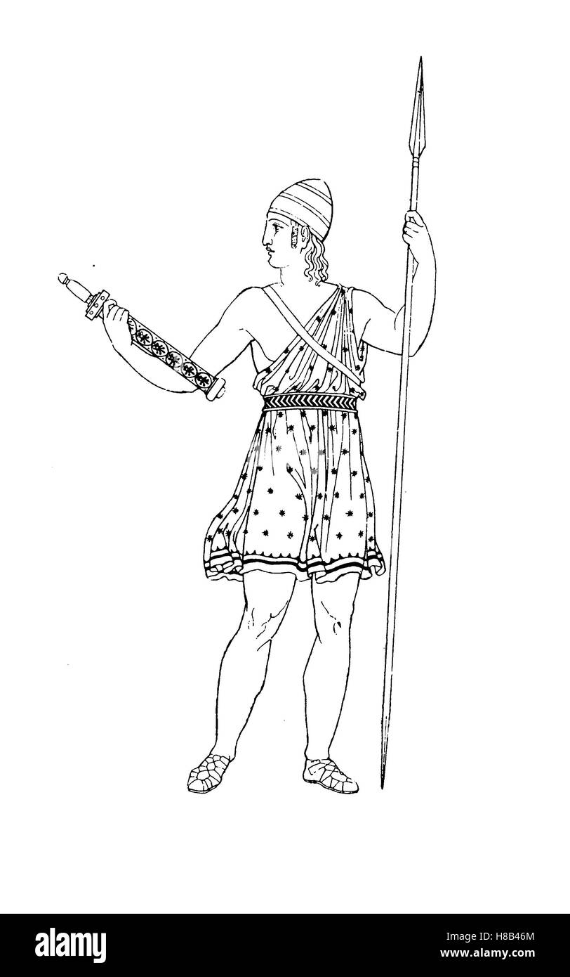 Griechenland, Krieger mit Waffe, bekleidet mit Eromis, nach einem Vasenmalerei, Geschichte der Mode, Kostüm Stockbild