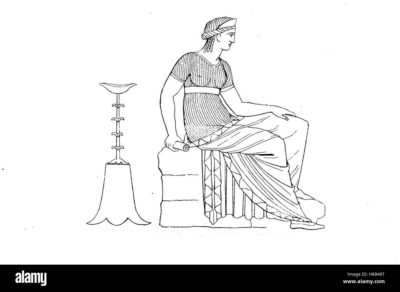 Altmodische Frau Kleider mit einer engen und regelmäßigen Falte nach einer griechischen Vase, Malerei, Stockbild