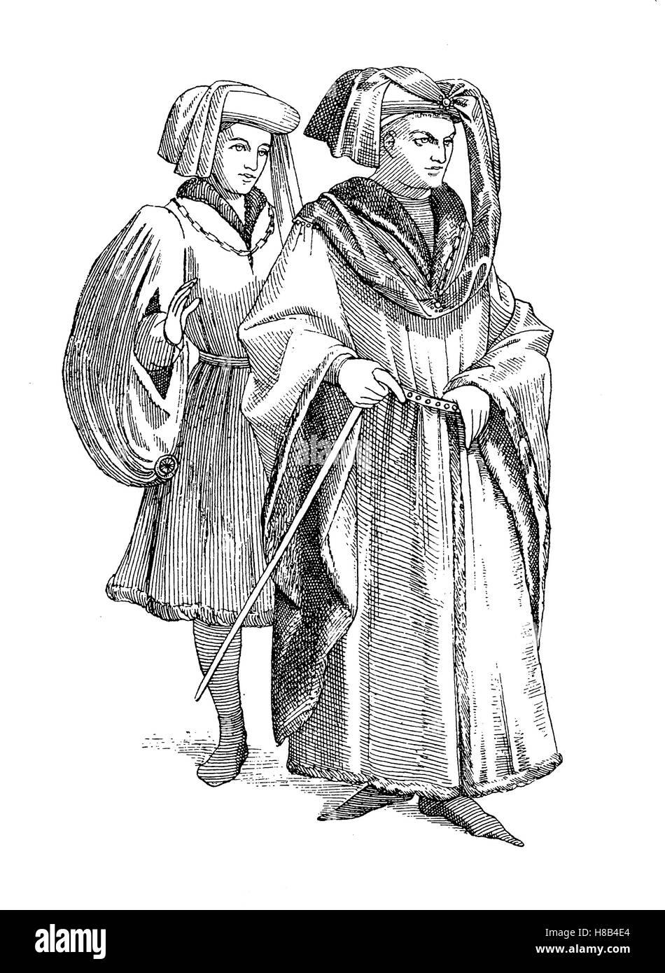 Französische Staatsbürger um 1430, Hüte mit einem Sendelbinde, Frankreich, Geschichte der Mode, Kostüm Stockbild