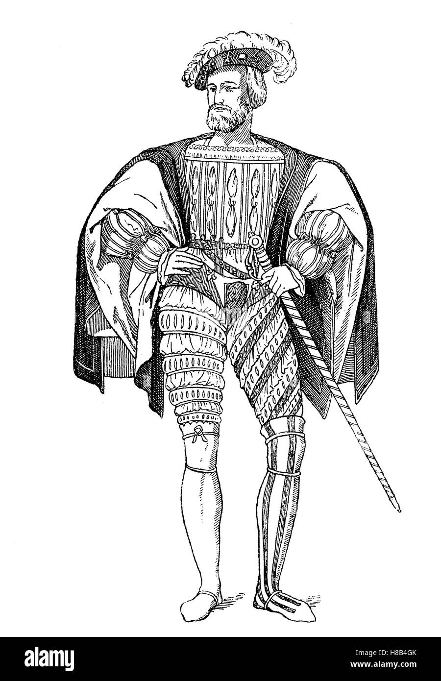 französische Kostüm um 1525, Geschichte der Mode, Kostüm-Geschichte Stockbild