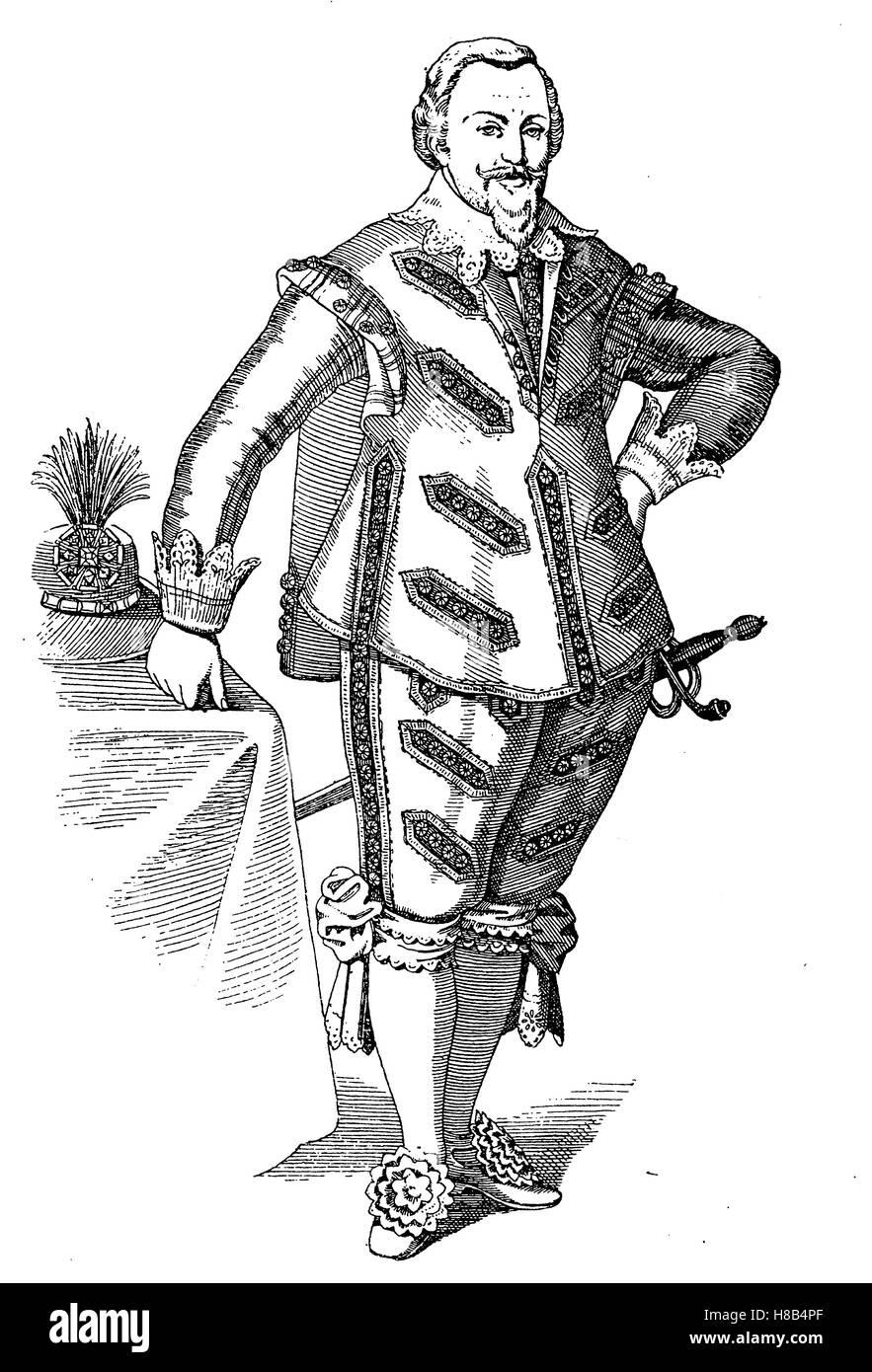 Maurice, Prinz von Oranien, 1620, Geschichte der Mode, Kostüm-Geschichte Stockbild