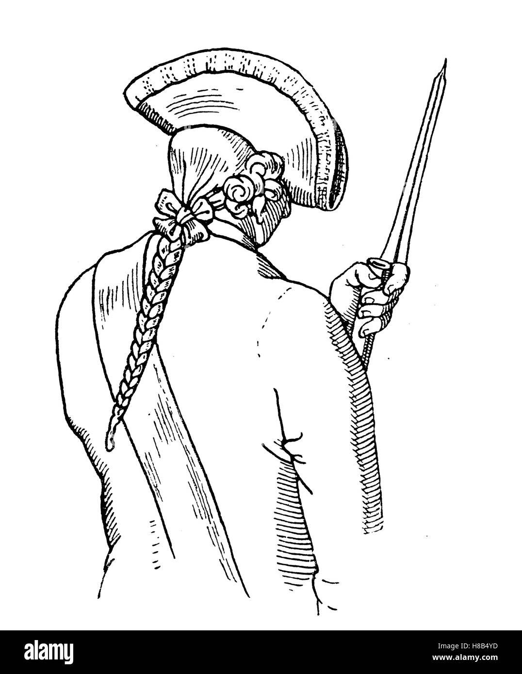 Soldat mit geflochtene Frisur, 18. Jahrhundert, Frankreich, Geschichte der Mode, Kostüm-Geschichte Stockbild