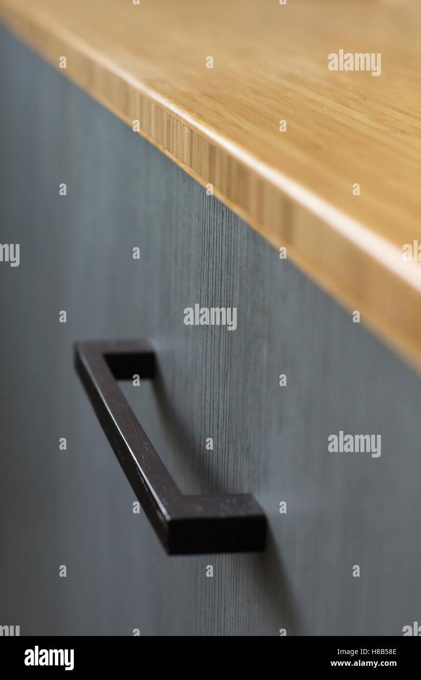 Nahaufnahme Detail Bambus Arbeitsplatte Grau Schrank Und Schwarzen