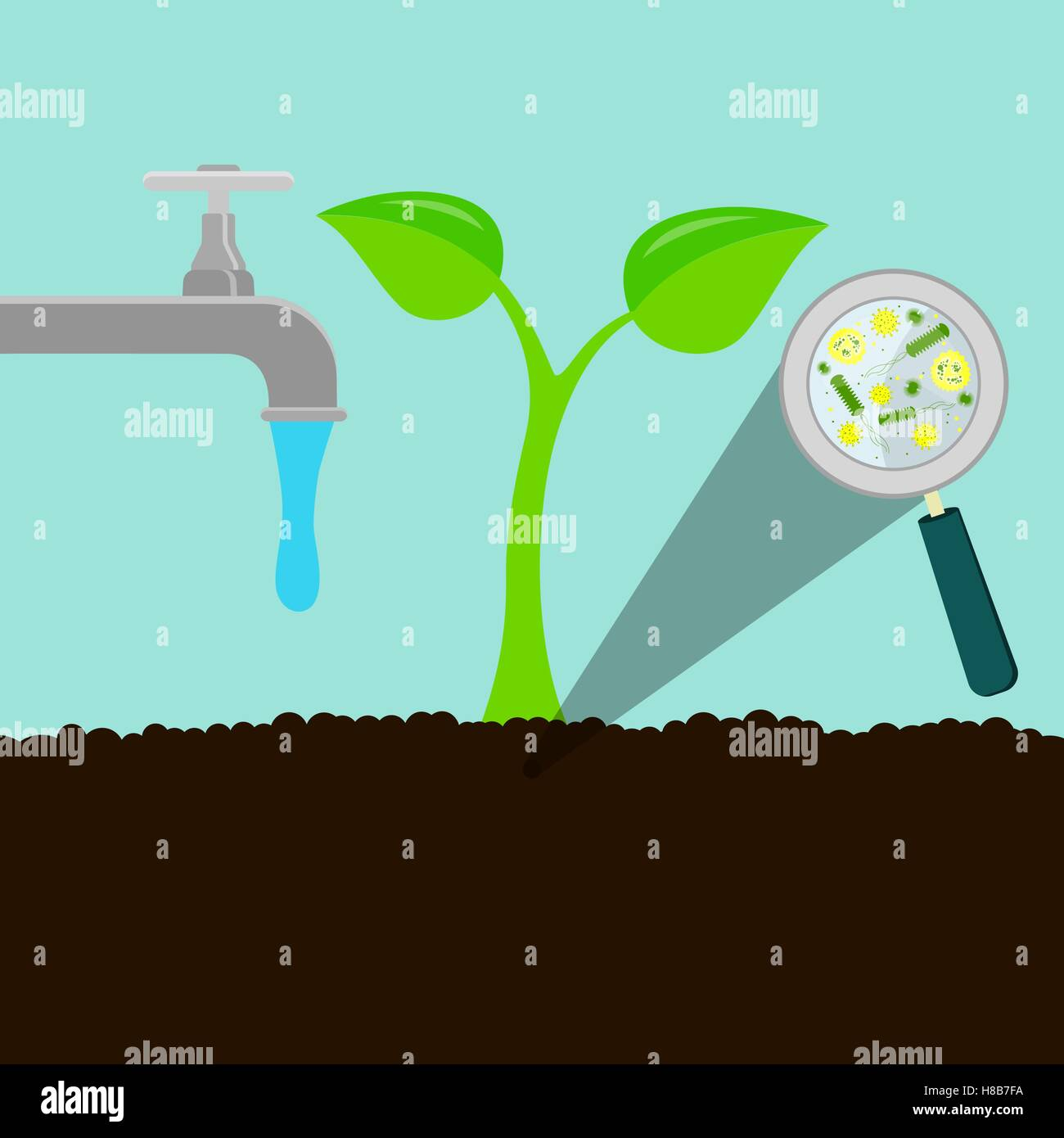 wasser aus dem wasserhahn laufen und bew sserung des bodens pflanze aus der erde steigen. Black Bedroom Furniture Sets. Home Design Ideas