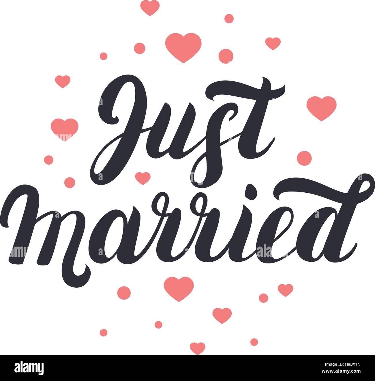 Frisch Verheiratete Hand Schriftzug Mit Herzen Hintergrund Fur
