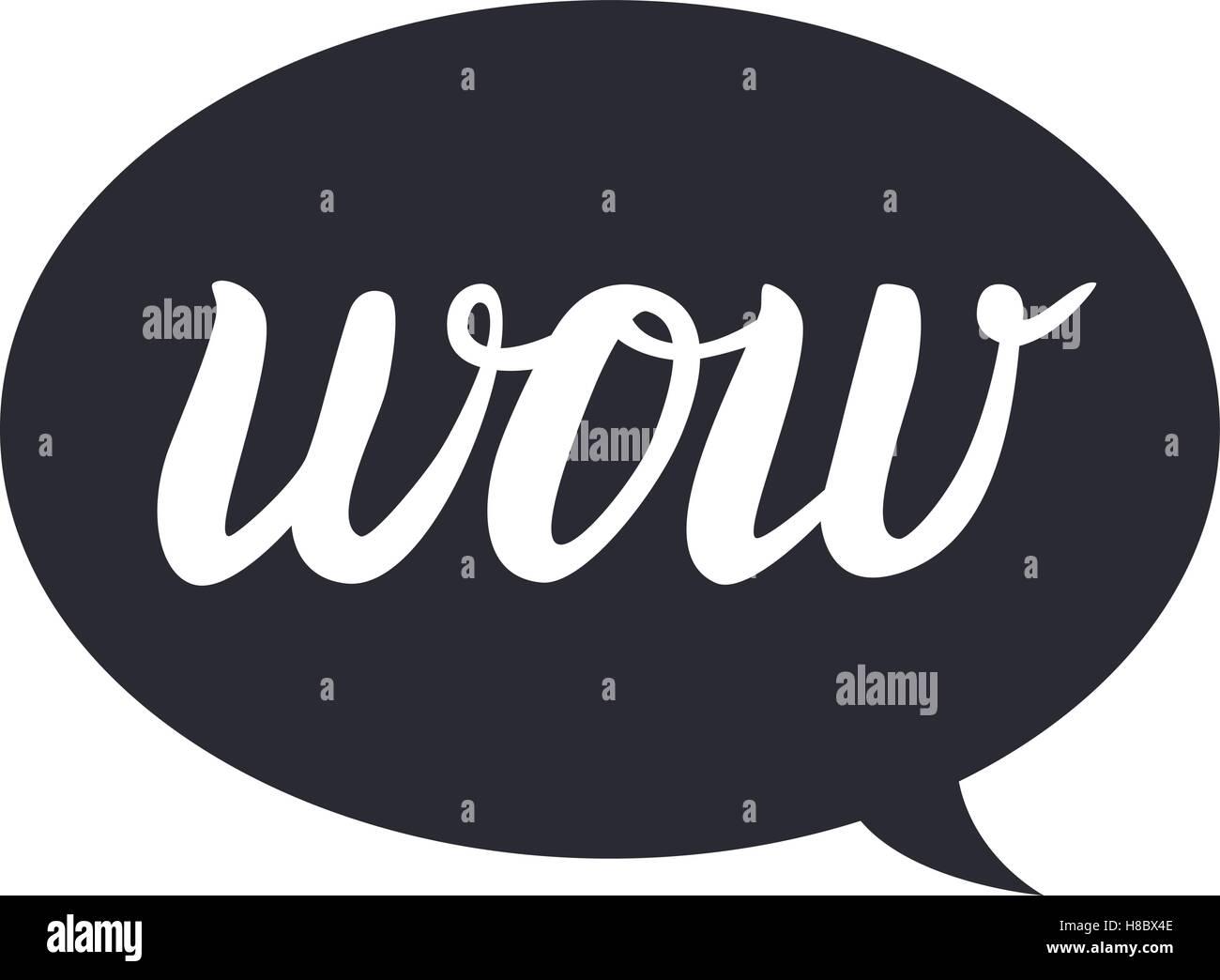 Wow Hand Zeichnen Schriftzug Kalligraphie Auf Schwarze Blase Vektor