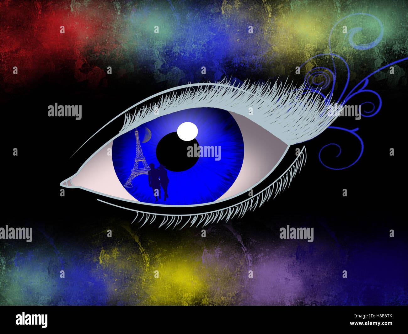 Abstrakte Darstellung eines Auges Stockbild
