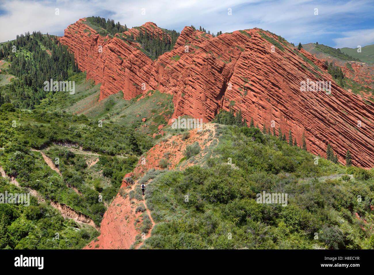 Kirgisistan - Mann in der Nähe von Jeti Ogus Felsen trekking - Reisen in Zentralasien Stockbild