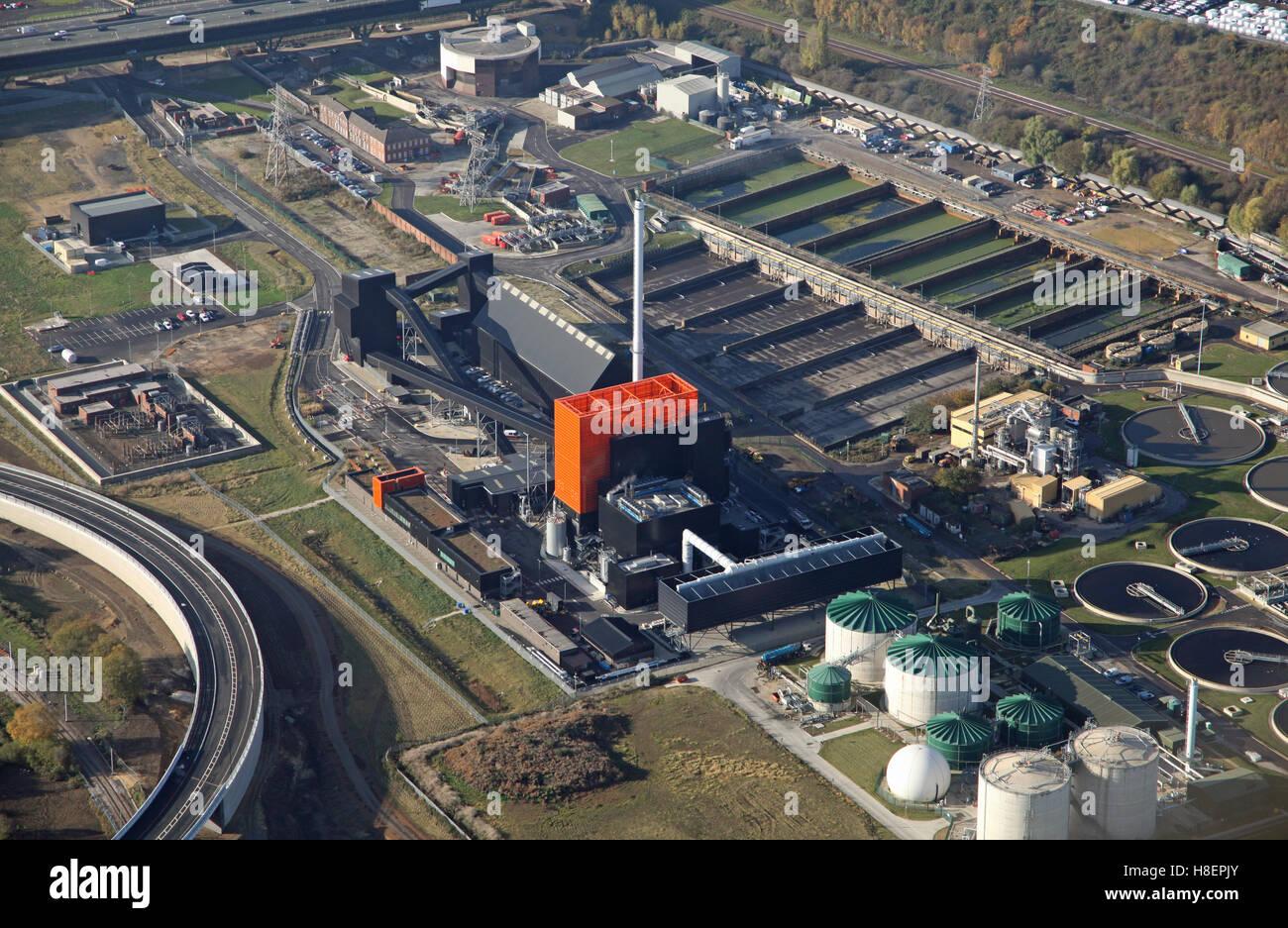 Luftaufnahme des erneuerbare Energieanlage Blackburn Wiesen laufen von Eon in Rotherham, South Yorkshire, Großbritannien Stockbild