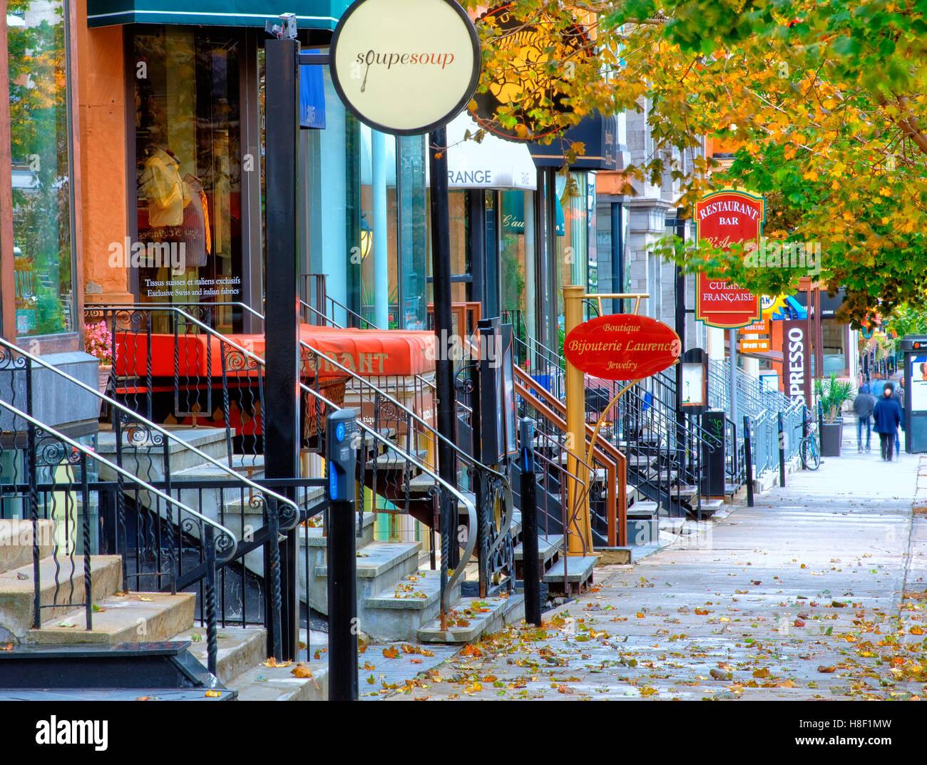 Crescent street, Montreal, Kanada Stockbild