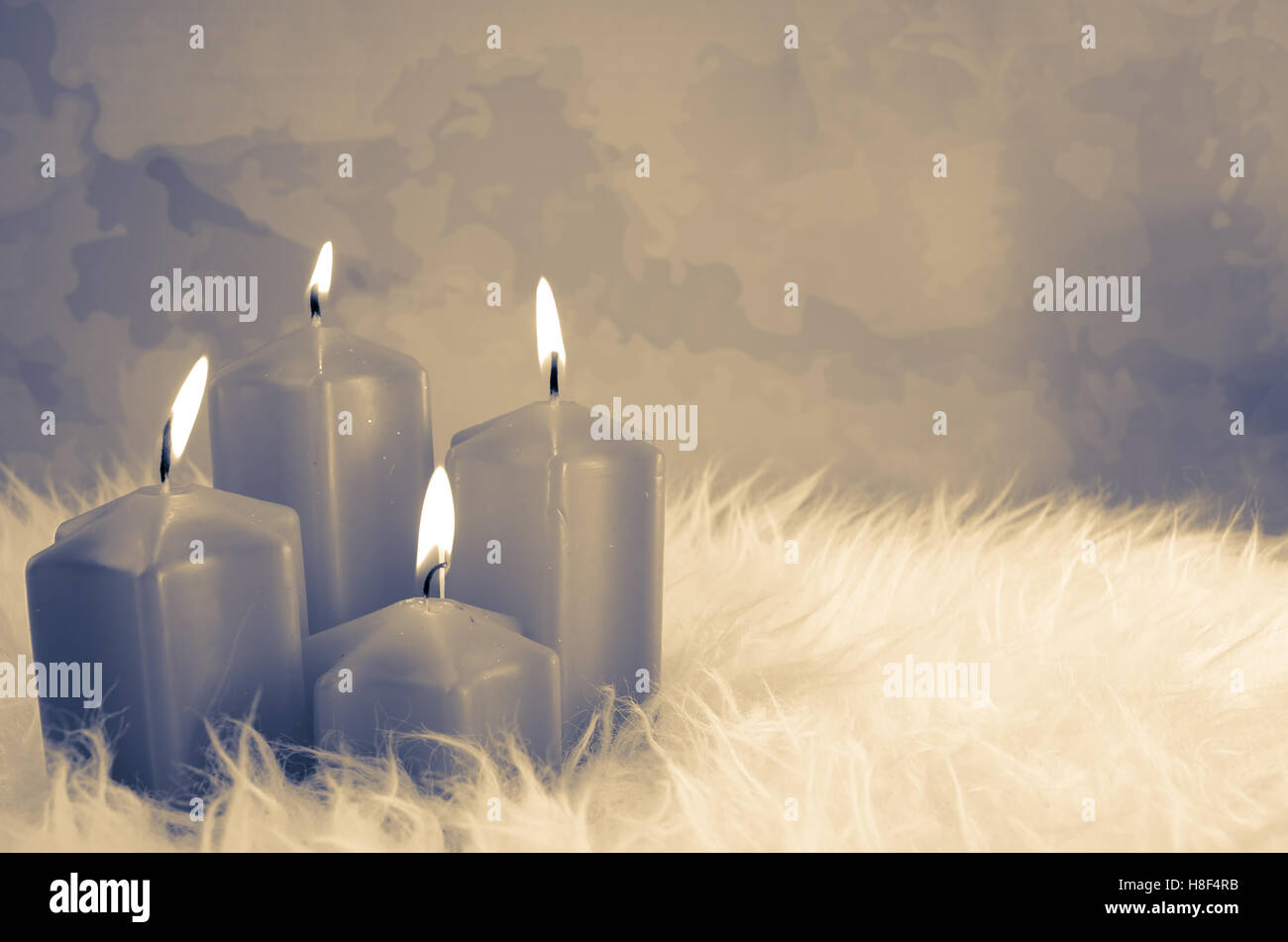 Brennende Kerzen Dekoration Advent Grau Stockfoto Bild