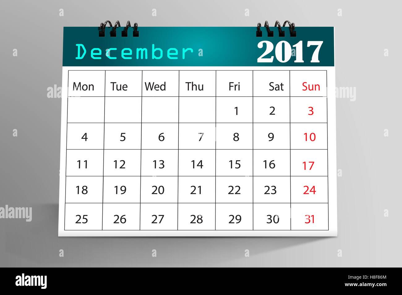Desktop Kalender Design - Dezember 2017 Stockbild