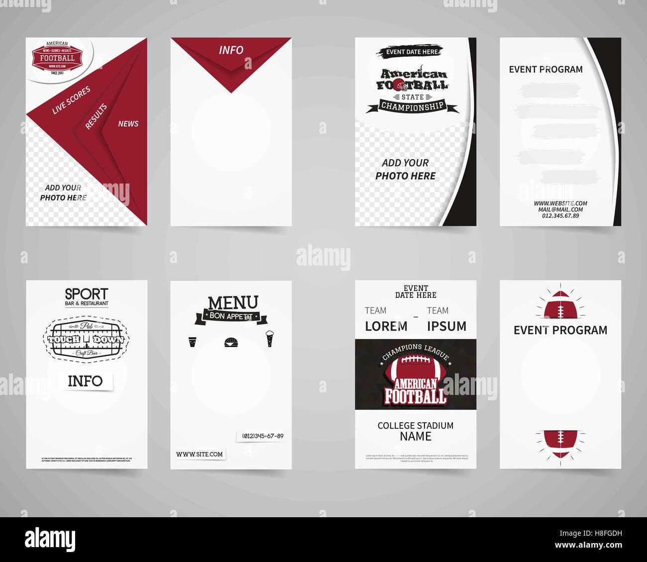 Amerikanischer Fußballparty Zurück Und Vorderen Flyer Vorlage Design