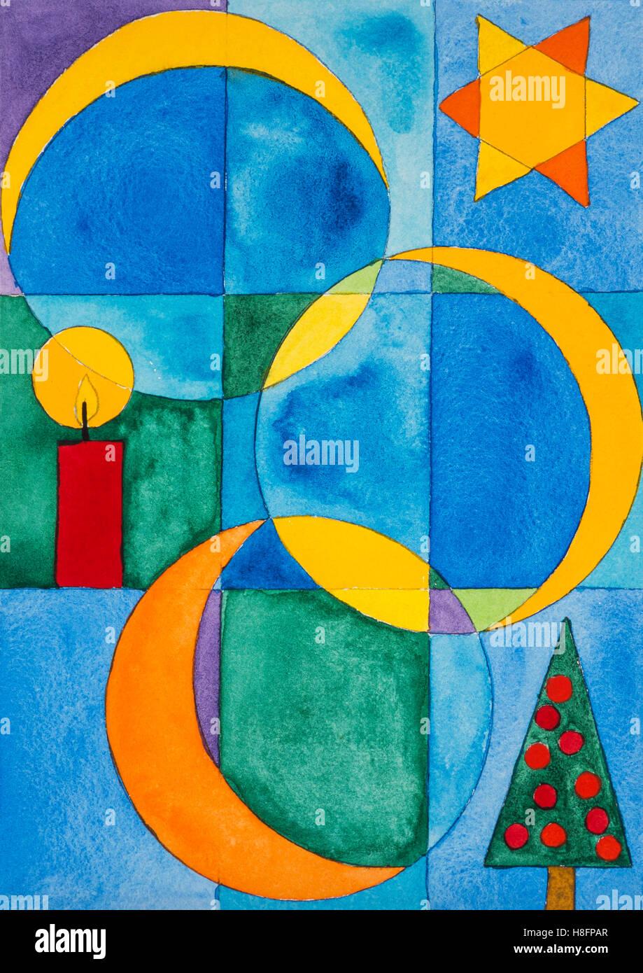 Aquarell von heidrun f ssenh user weihnachten weihnachtsbaum sterne und symbolen kerzen - Aquarell weihnachten ...