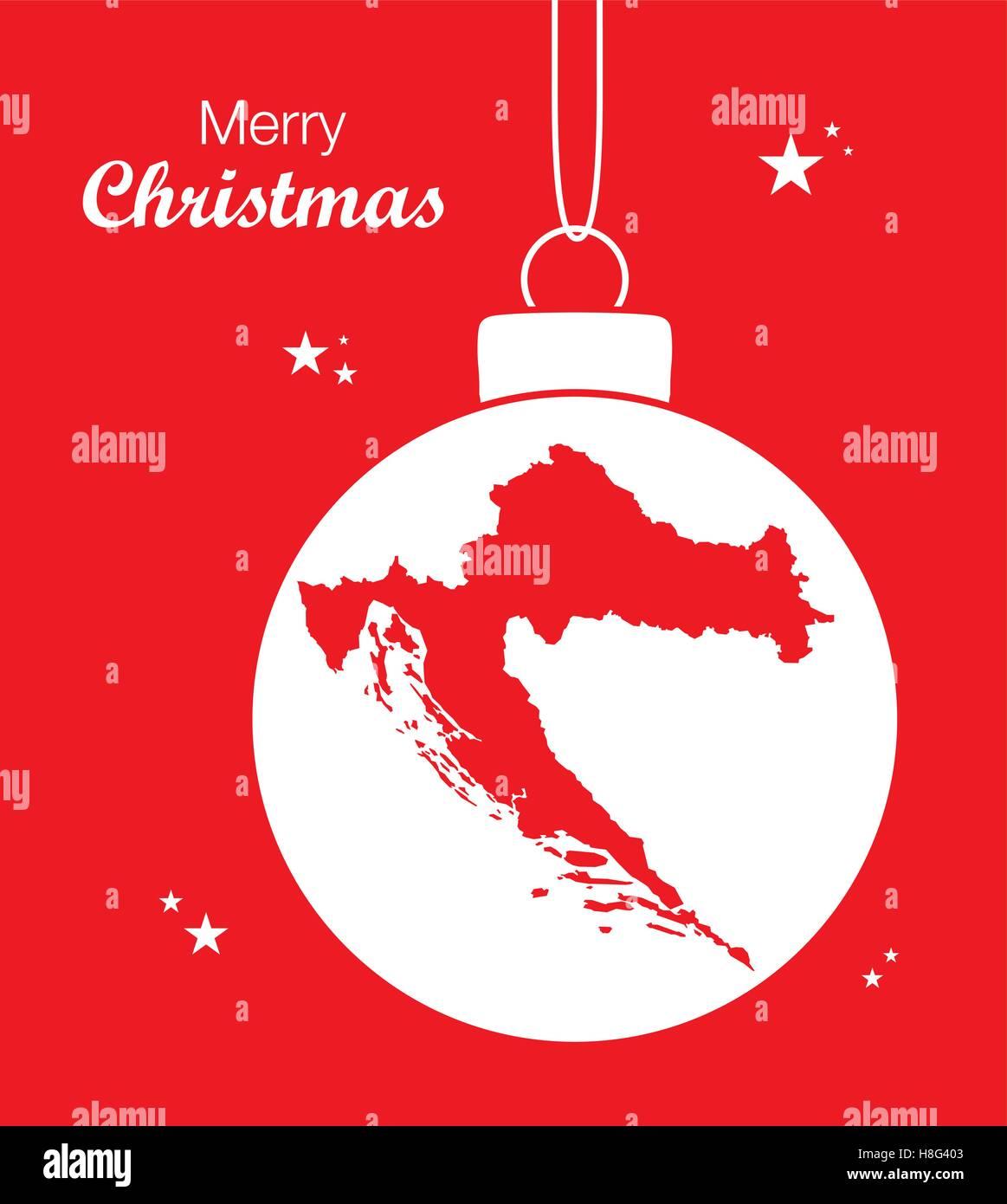Weihnachten In Kroatien.Frohe Weihnachten Karte Kroatien Vektor Abbildung Bild 125744195