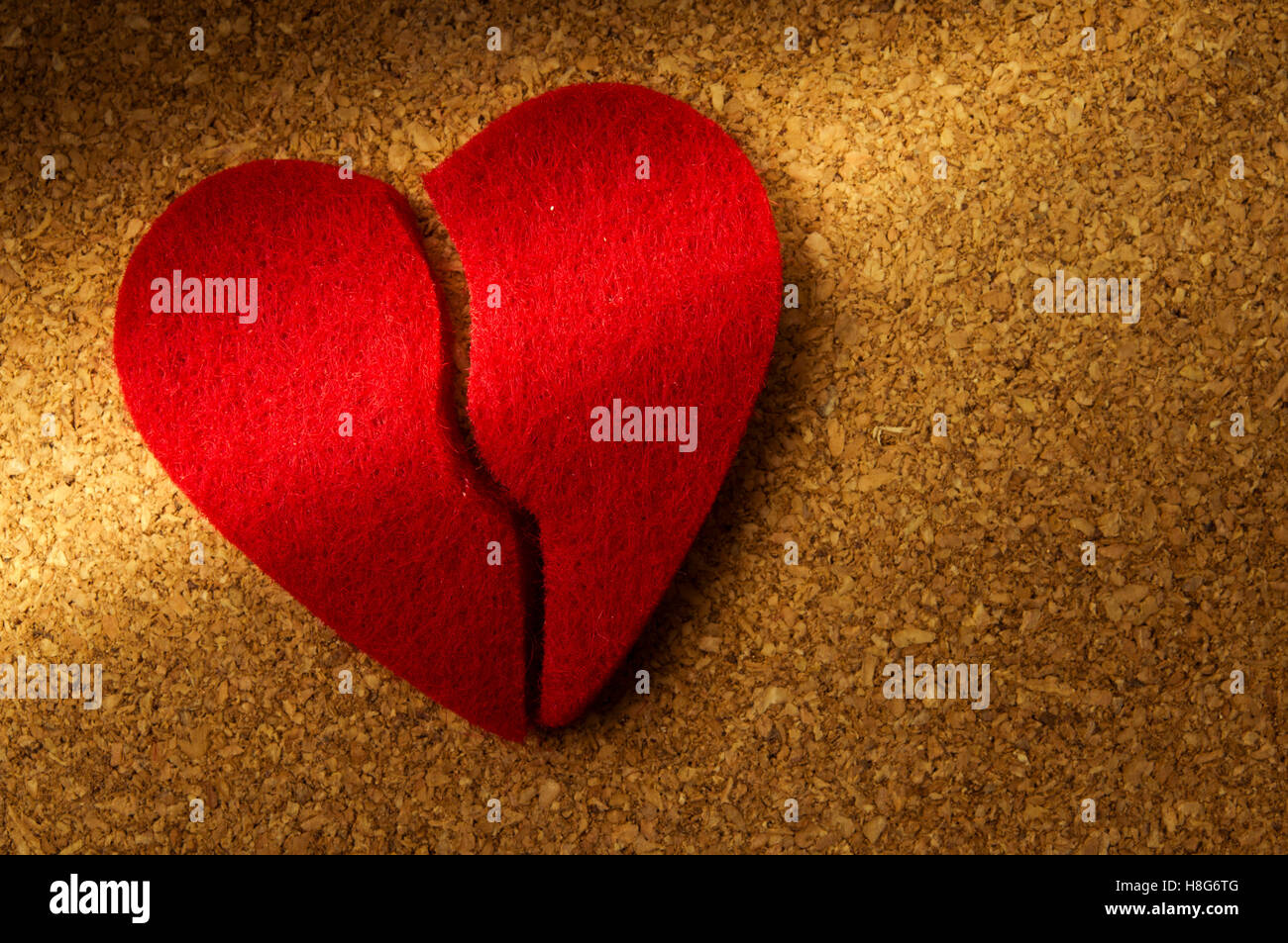 gebrochenes Herz, Konzept für Scheidung, Ende der Beziehung, Liebesgeschichte fertig Stockbild