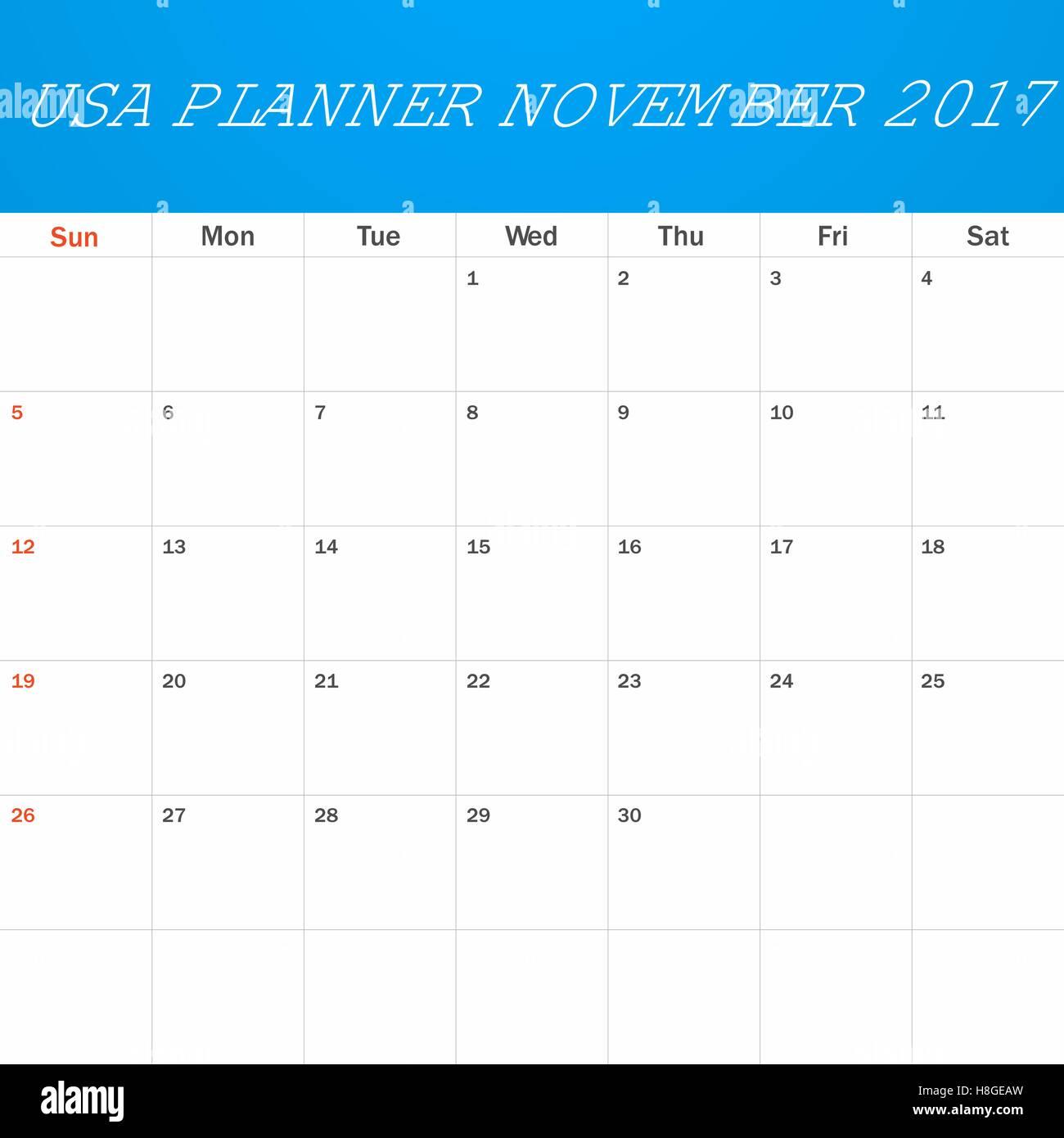 USA-Planer für November 2017 leer. Scheduler, Agenda oder Tagebuch ...