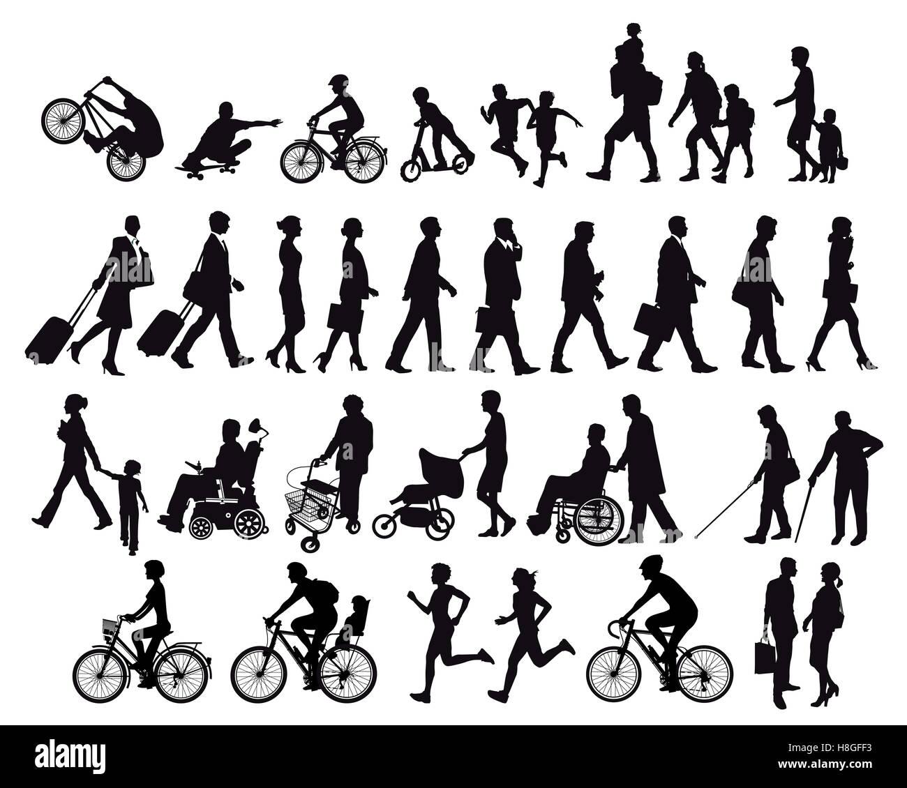 Menschen in Bewegung und Aktivitäten Stockbild
