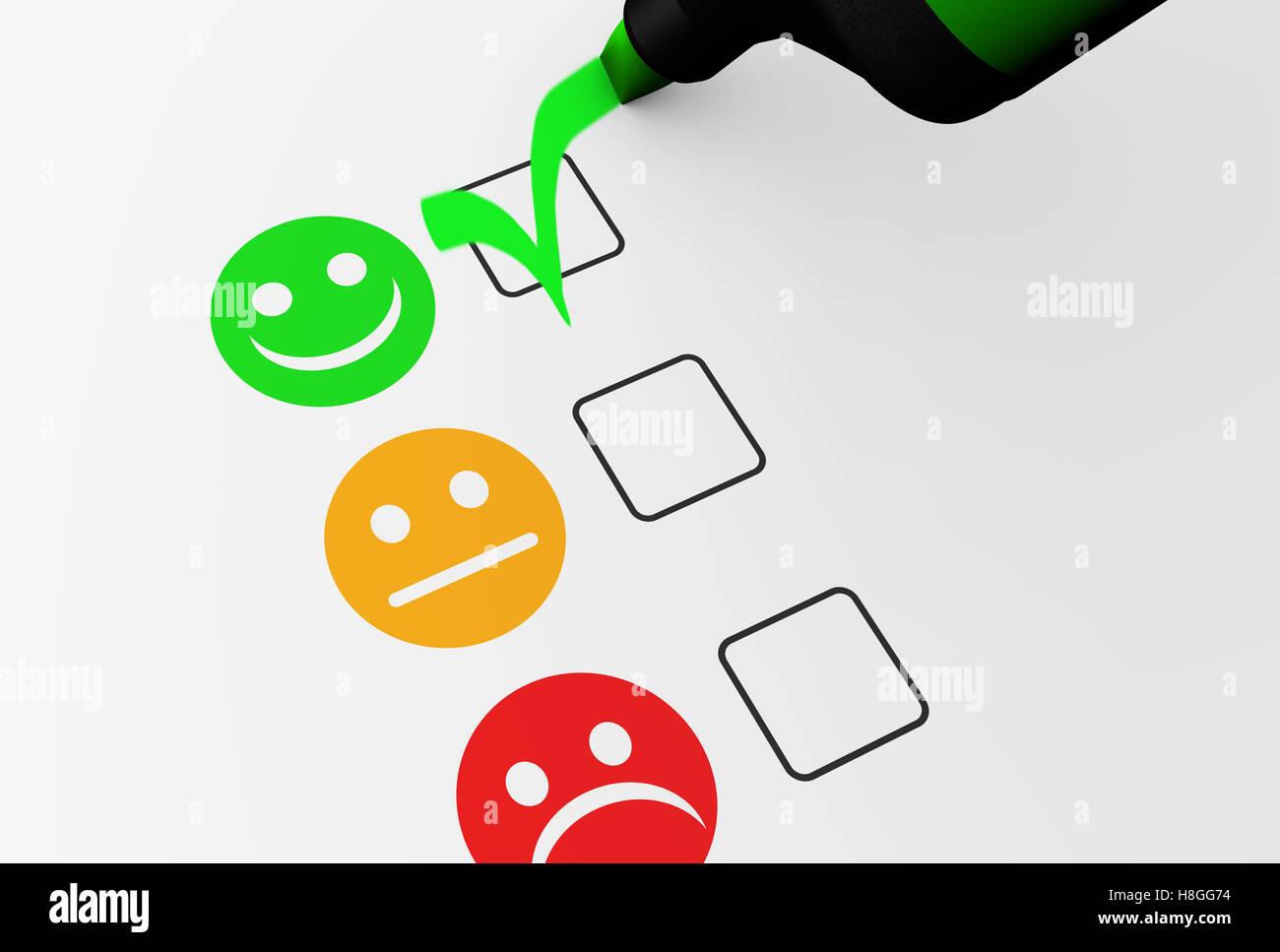 Kundenzufriedenheit glücklich-Feedback rating-Checkliste und Business Qualität Bewertung Konzept Abbildung. Stockbild