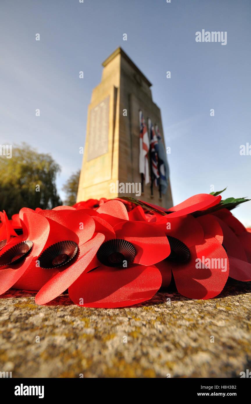 Bourne, Vereinigtes Königreich. 13. November 2016. Remembrance Sunday Ansichten in Bourne, Lincolnshire. Bildnachweis: Stockbild