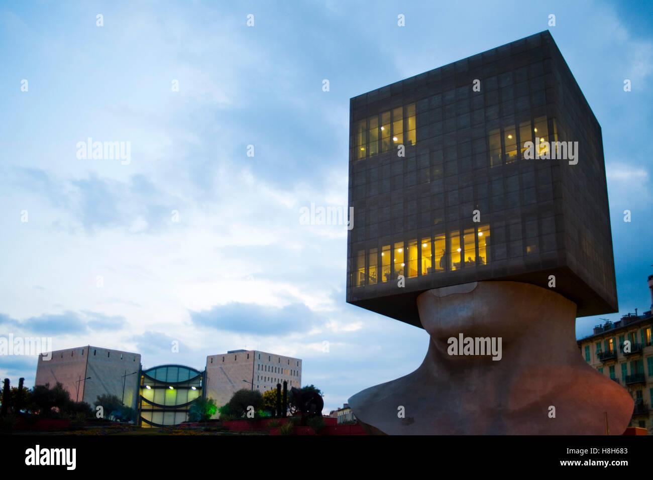 Frankreich, Cote d ' Azur, Nizza, Nizzas Neue Bibliothek Louis Nucera Bietet Auf Rund 10 600 Quadratmetern Eine Stockbild