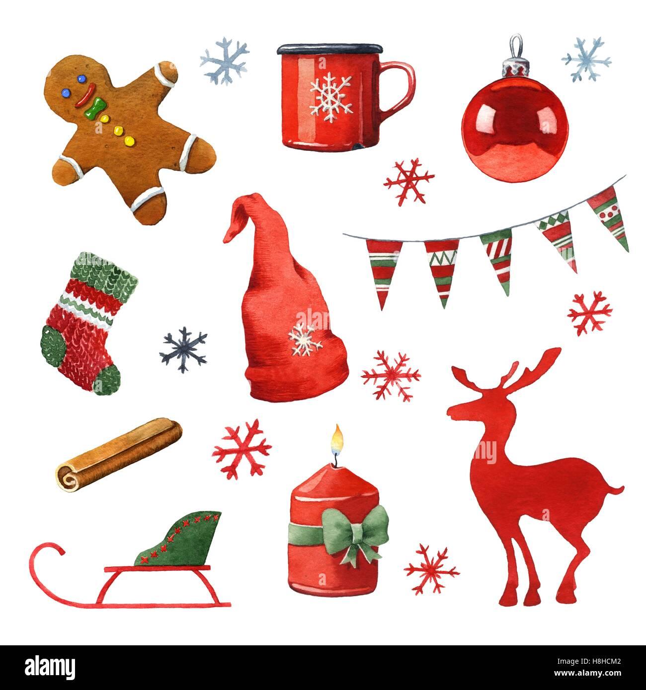 Aquarell handgemalte Weihnachten Clipart Stockfoto, Bild: 125772978 ...