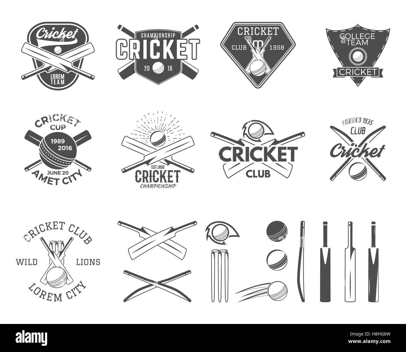 Satz von Cricket-Sport-Logo-Vorlagen. Cricketspieler Embleme und ...