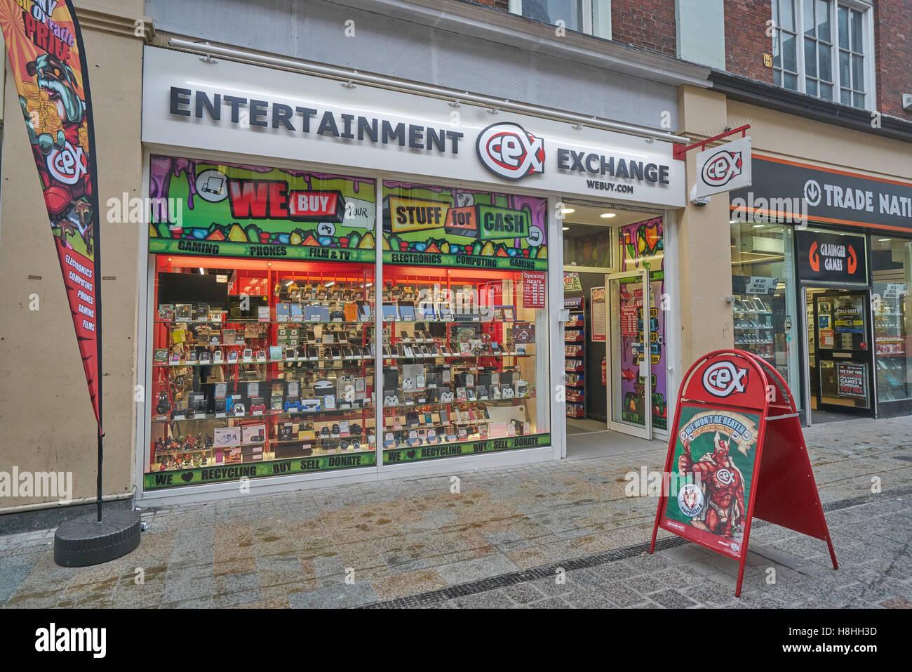 Unterhaltung-Exchange, Second-Hand-Elektronik-Shop, Stockbild