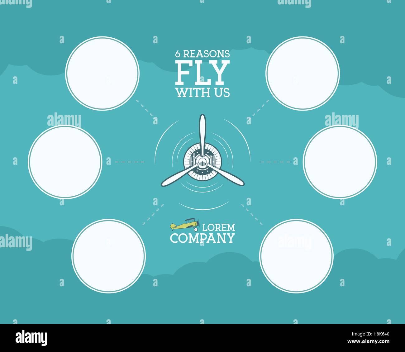 Vintage Flugzeug und Reisen Infografiken mit leere Formulare bubble ...