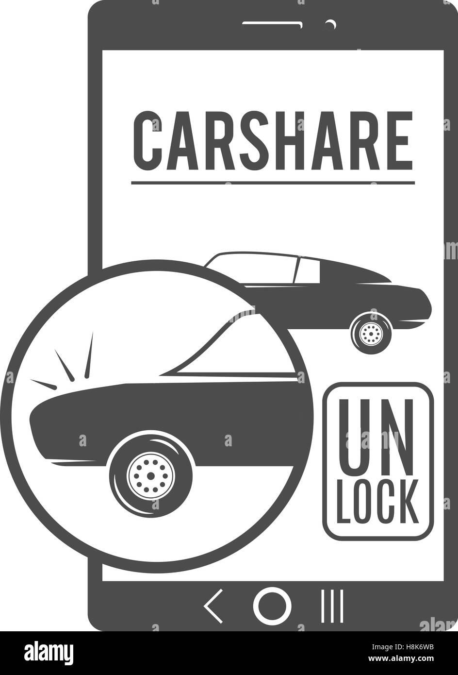 Auto-Anteil-Logo-Design. Auto-Sharing-Vektor-Konzept. Gemeinsame ...