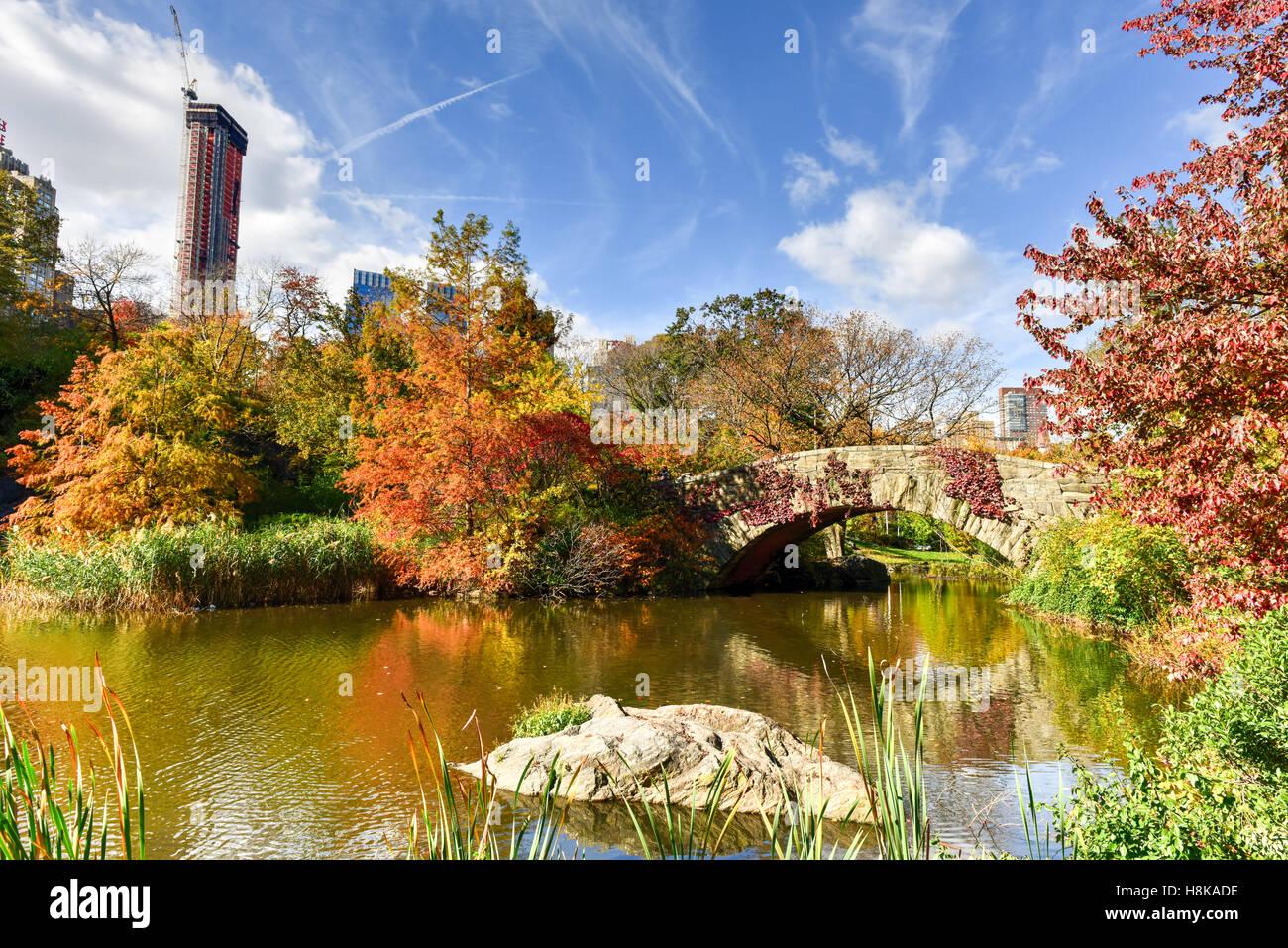 Gapstow Brücke im Herbst im Central Park in New York City. Stockbild