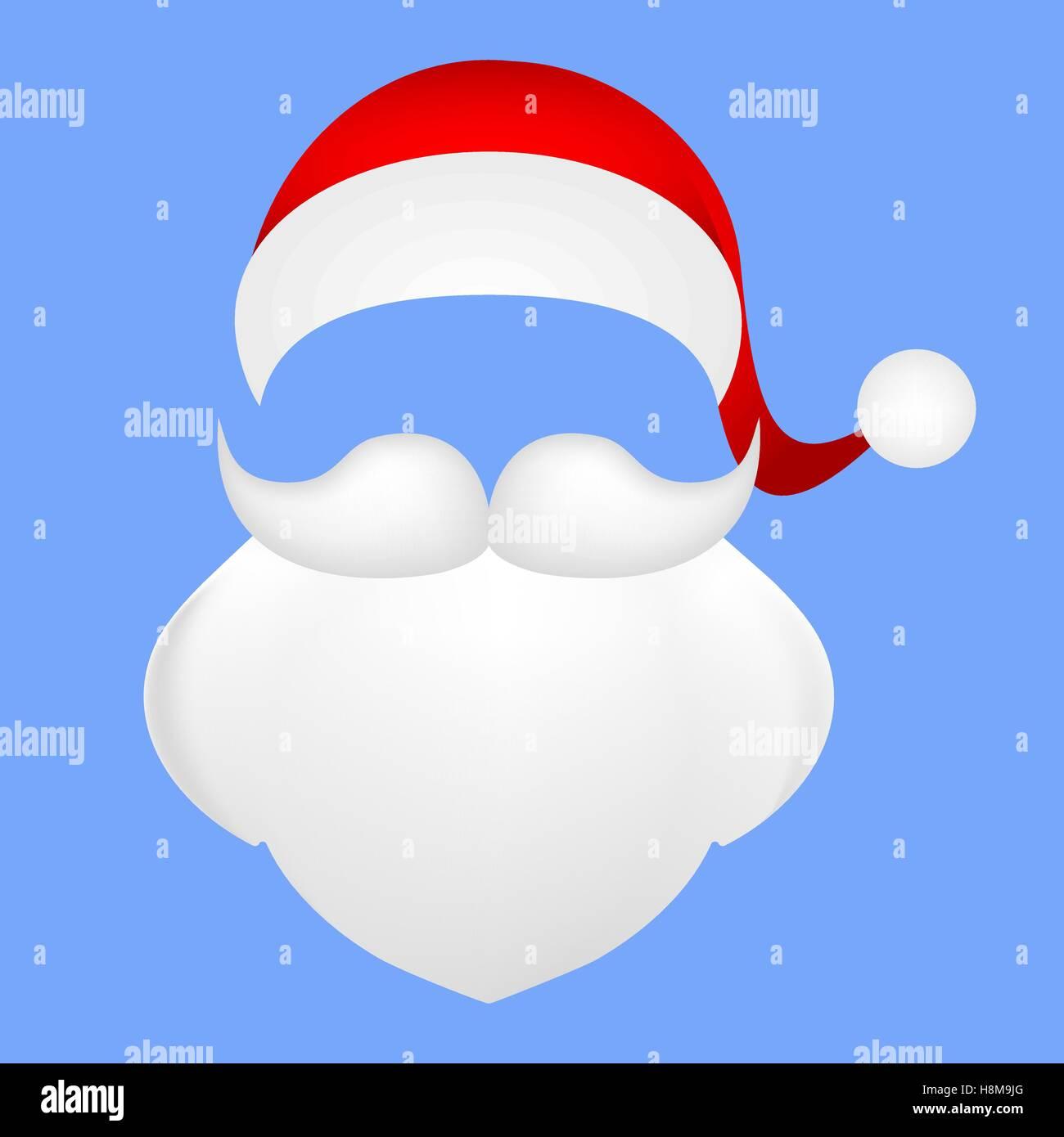 Vorlage für Foto Schnurrbart mit Bart und Kappe des Santa Clau ...