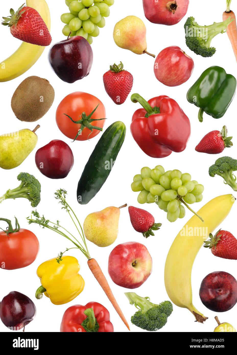 Bunte Muster von Obst und Gemüse Stockbild