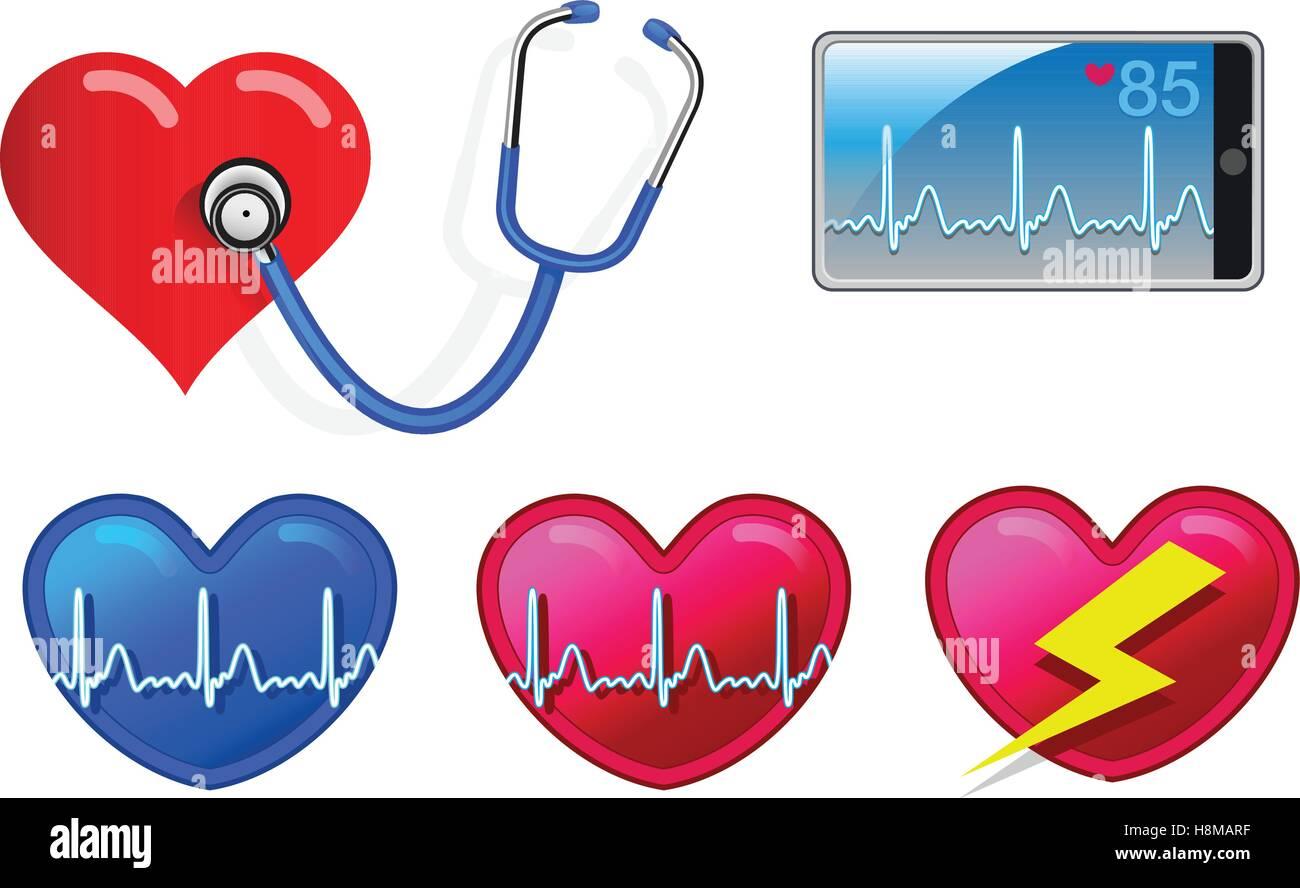 Herz-Rhythmus-Überwachungsgeräte wie Stethoskop, Smartphone und Herz Symbole Stock Vektor