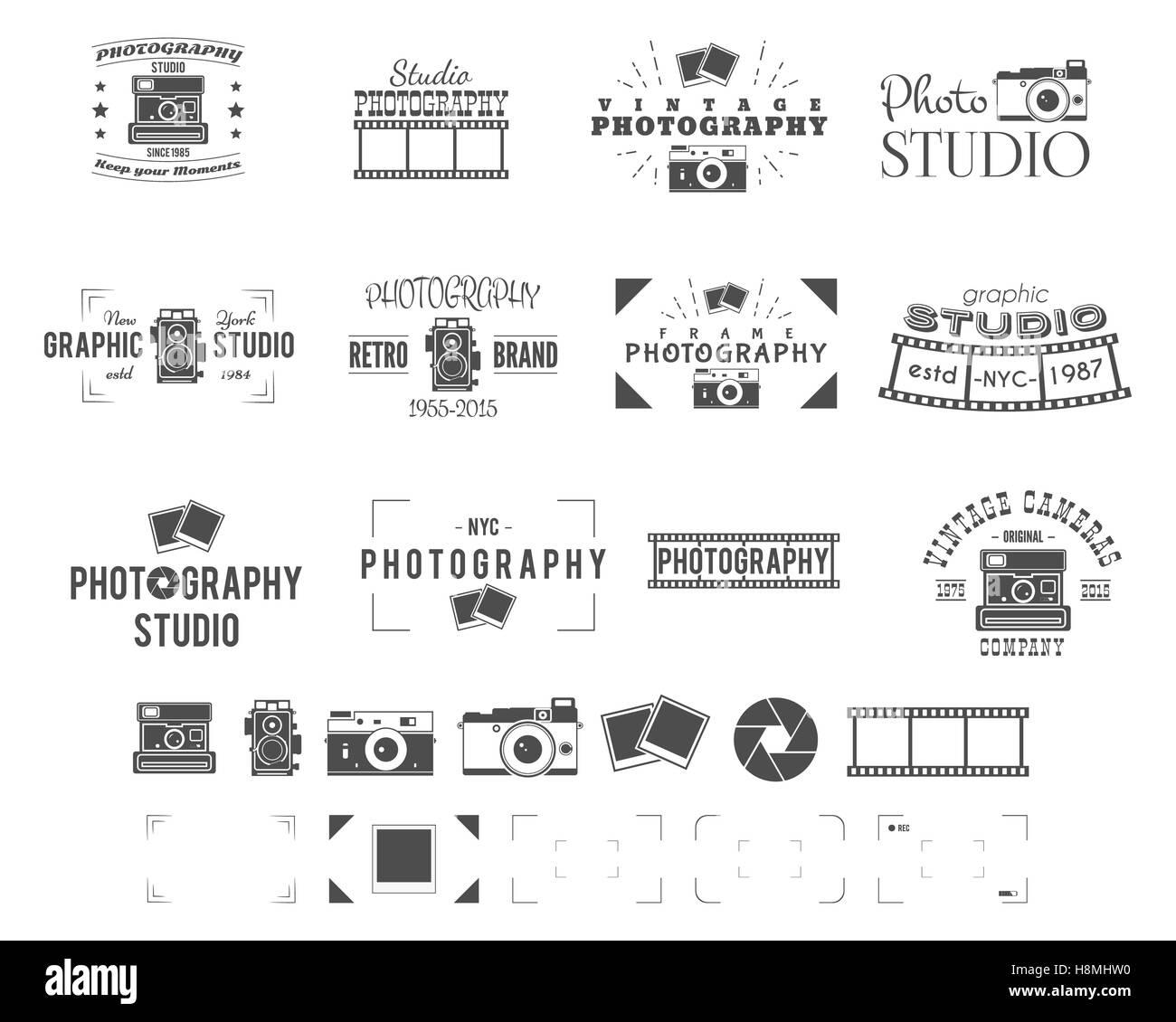 Fotografie Logo Vorlagen Eingestellt Für Fotostudio Alte Kamera