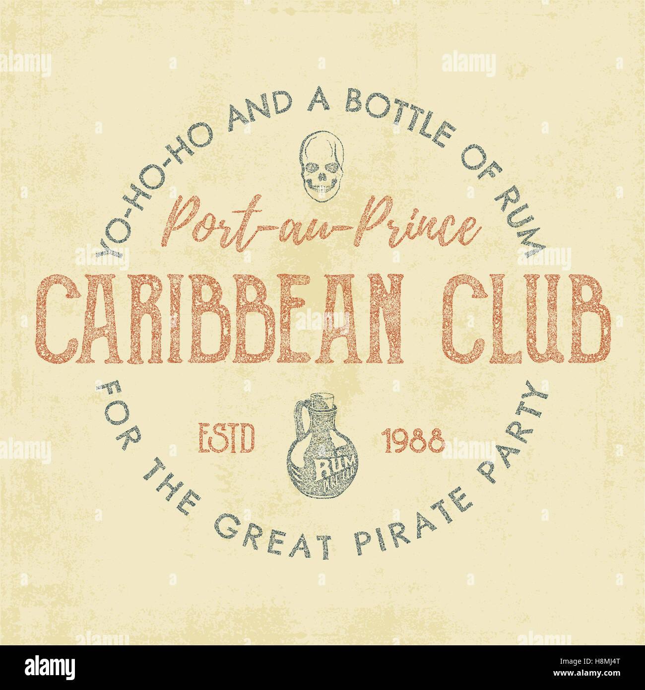 Vintage Handarbeit Label, Emblem. Caribbean Club Logo Vorlage ...