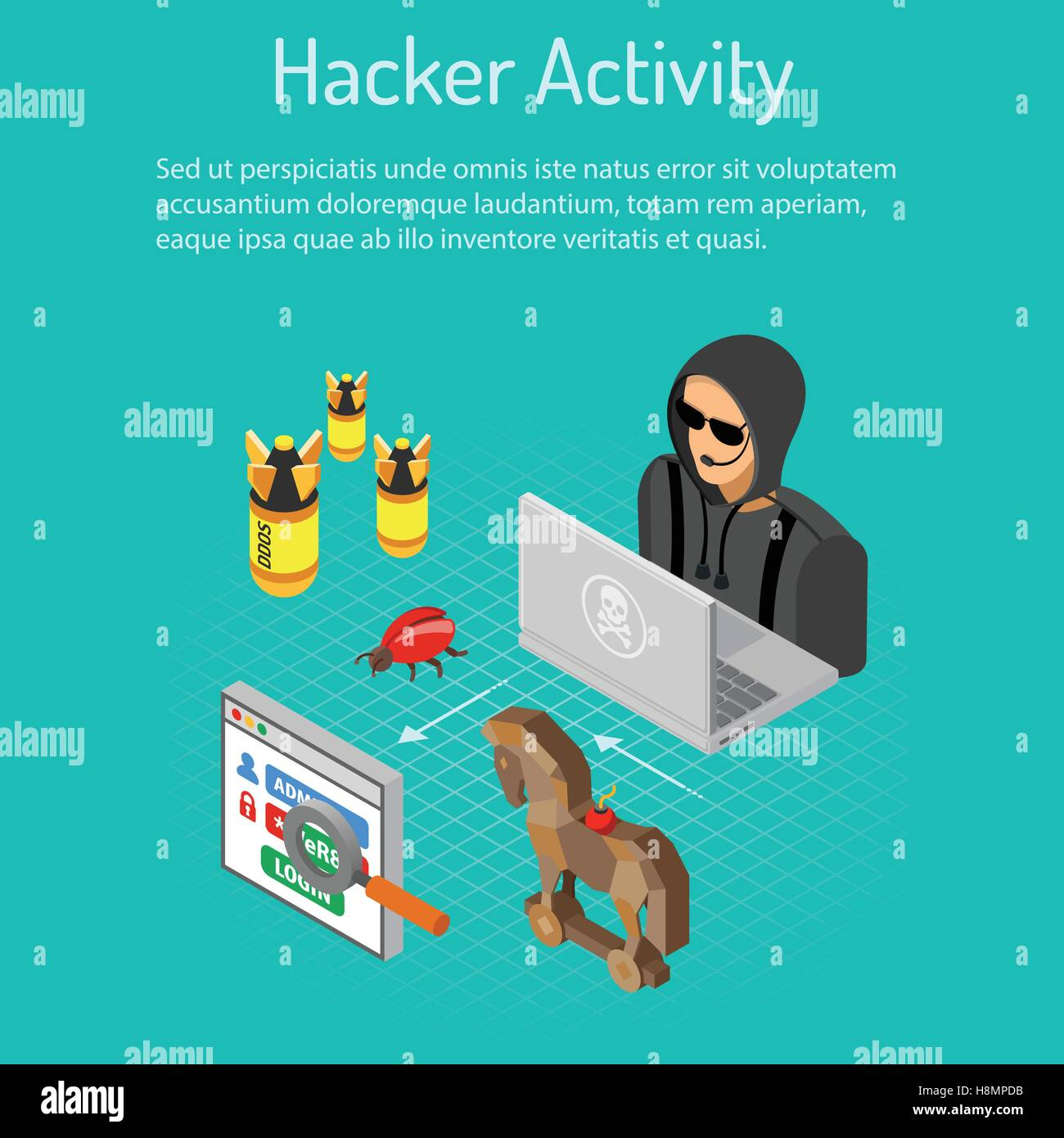 Hacker-Aktivität-Konzept Stockbild