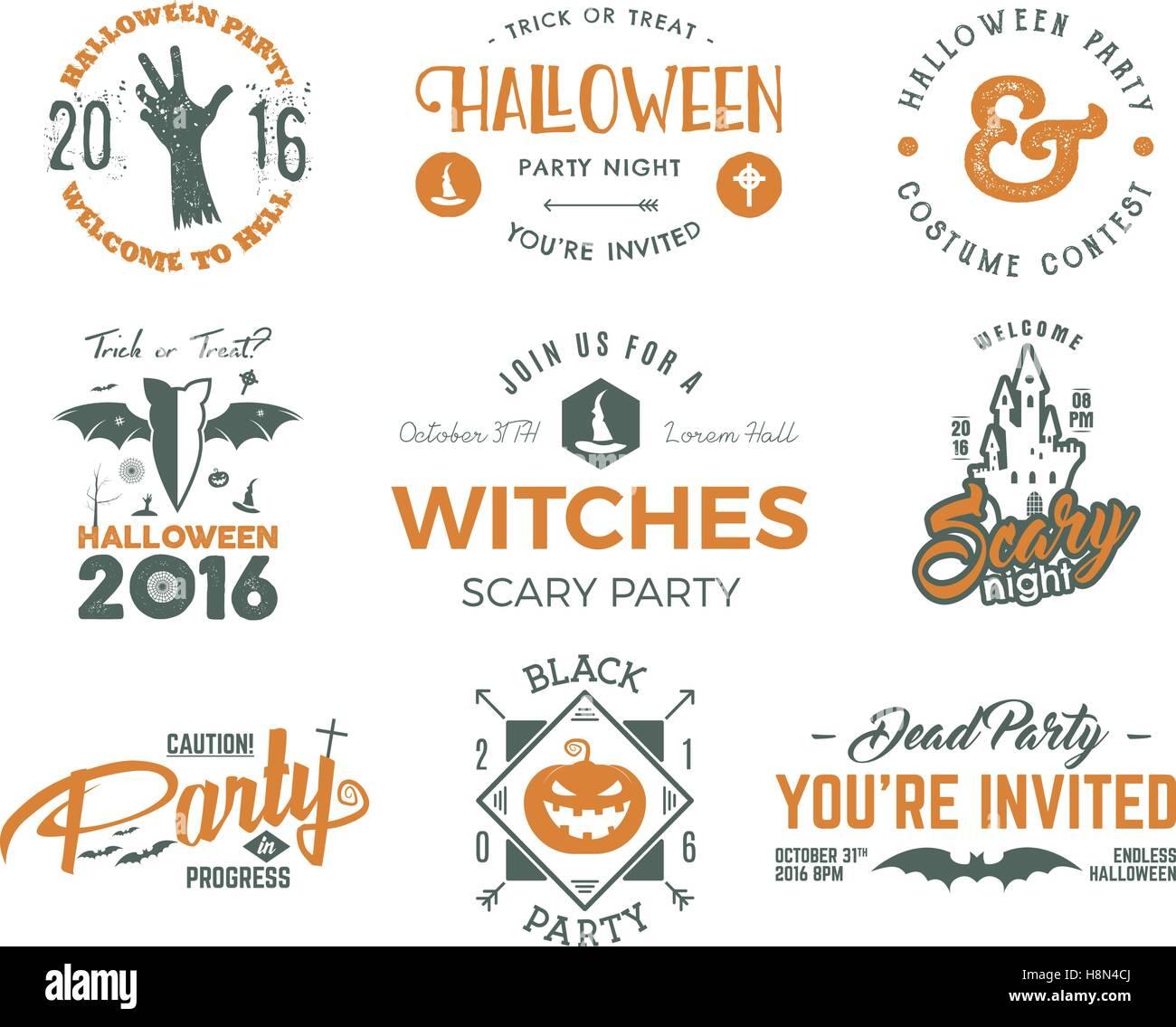 Halloween 2016 Partei Etiketten Vorlagen Mit Beängstigend Symbole