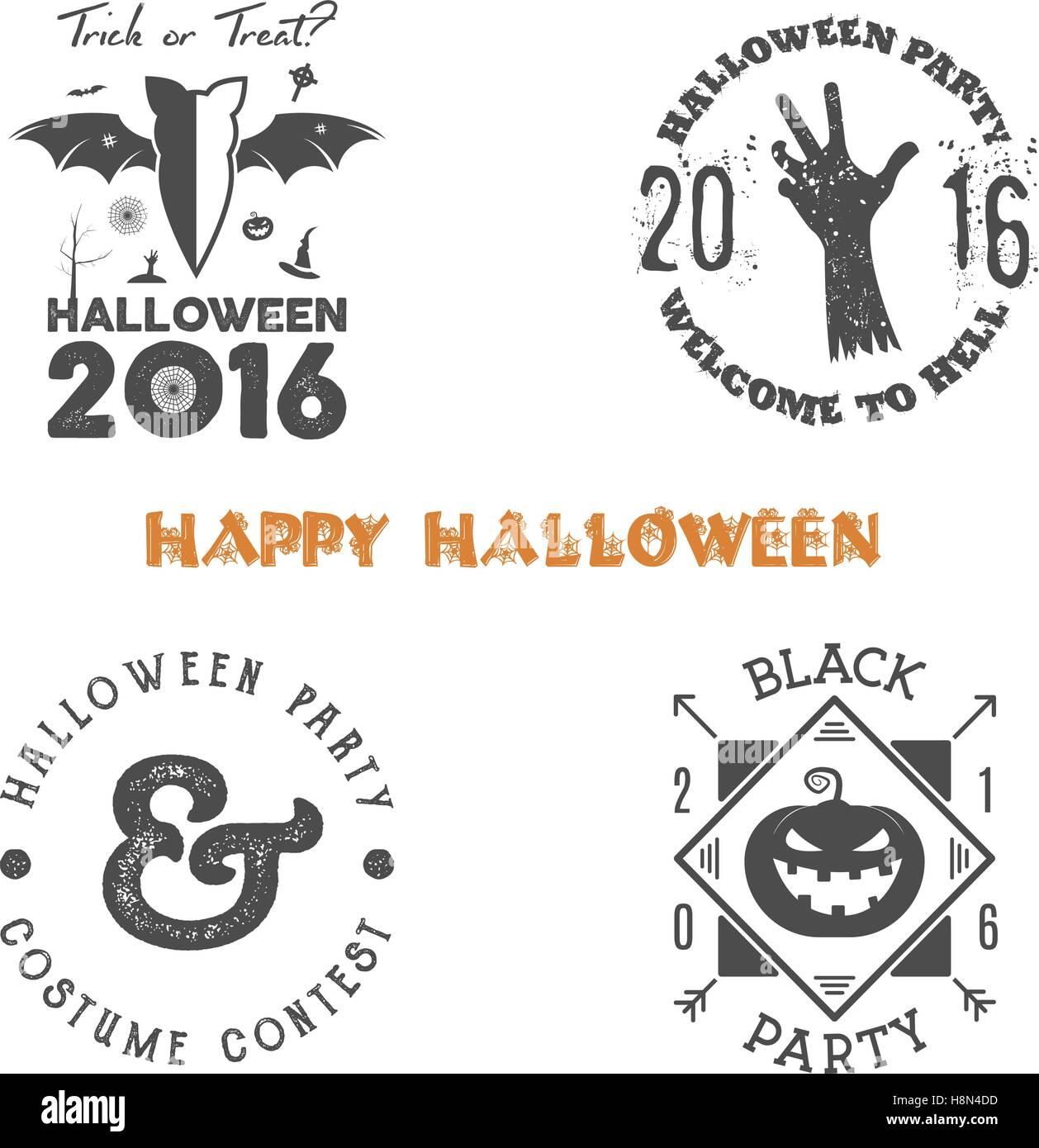 Halloween 2016 Partei Etikettenvorlagen mit beängstigend Symbole ...