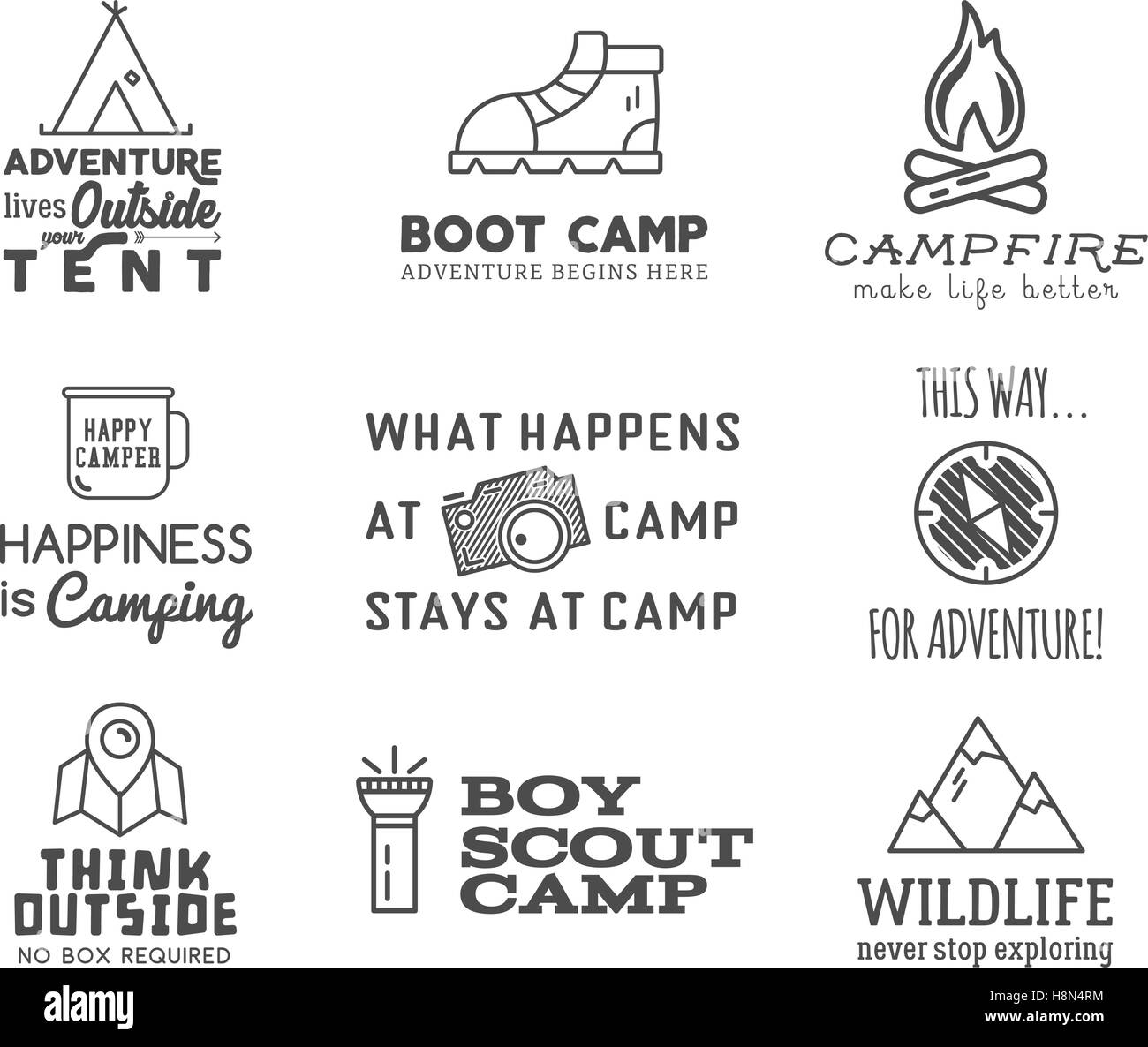 Camping Logo Design Mit Typografie Und Elemente Feuer Berg Zelt