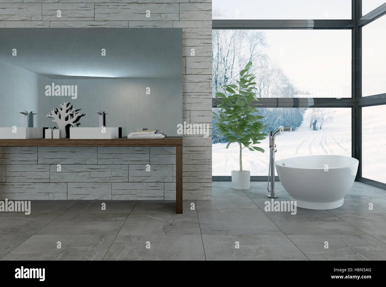 3D Rendering Badewanne Vor Großen Fenstern In Luxus Badezimmer Mit Hellen  Fensterfront Mit Blick Auf Verschneiten Landschaft